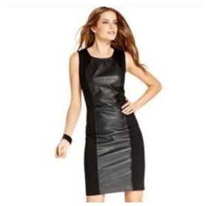ECI Faux leather panel dress